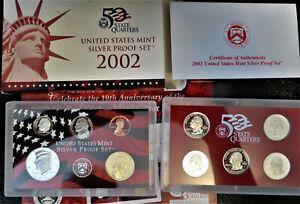 2002 United States Mint Silver Proof Set 10 Coin Set ~ OGP w/Box/COA * FREE Ship