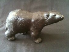 COMMANDING CAST BRONZE BEAR FIGURE SCULPTURE 100mm LONG