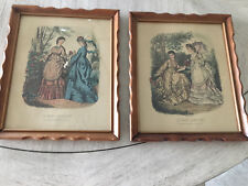 PAIR OF ANTIQUE FRENCH FASHION PRINTS, FRAMED