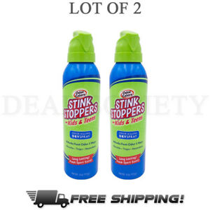 Odor Eaters Stink Stoppers Kids Dry Spray Fresh Sport Scent Odor 4oz Each 2Pack