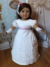"CARPATINA White Regency Colonial Dress~Gloves~headband 18"" american girl dolls"