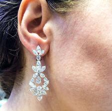 DIAMOND 14 PEAR SHAPE 18 MARQUISE SHAPE 8 ROUND BRILLIANT SHAPE DANGLE EARRING