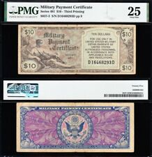VERY NICE *SCARCE* Bold & Crisp VF Military Payment SERIES 481 $10 MPC! PMG 25!