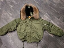 GVGV Fur Hoodie Alpha Industries MA1 Bomber Jacket Size 36 Small
