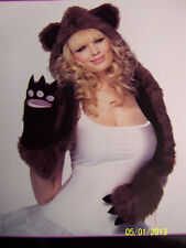 Plush Bear Hood Paw Scarf Furry Animal Fancy Dress Halloween Costume Accessory