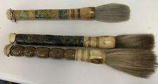 3 Chinese Large Calligraphy Brushes Horse Hair, Bone and Stone.