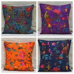 Indian Kantha Cushion Cover Colorful Boho Home Decor Cotton Pillow Throws