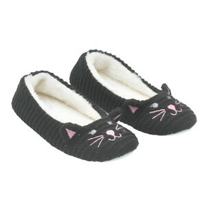 Aussie Winter Women's Comfy Cute Cat Warm SLIPPERS Non-Slip Soft Ballerina Shoes