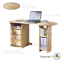 Très beau bureau en pin massif vernis naturel avec 3 trioirs et des étagères