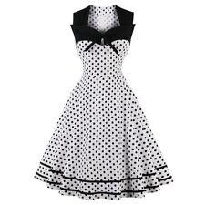 ZAFUL S-4XL Ladies Plus Size Vintage Dress Polka Dot Print Swing A-Line Dress