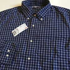 8a4d02fc22 NWT Uniqlo Mens L Navy White Check 100% Cotton Lightweight Button Front  Shirt LS