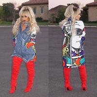 Fashion Women Graffiti Jean Denim Jacket Casual Long Sleeve Outwear Coat Pockets