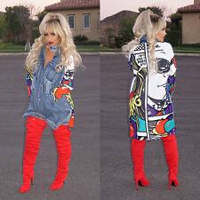 Women Jean Denim Jacket Casual Long Sleeve Outwear Coat Overcoat Fashion Print