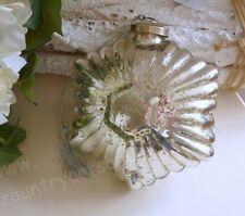 Großer STERN,SCHNEEFLOCKE, Glas, Silber, Bauernsilber, Brocante, 14 cm