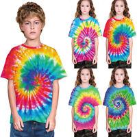 Childrens Kids Boys Girls Tie Dye T Shirt Top Tee Tye Die Music Festival Hipster