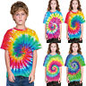 Childrens Kids Boys Girls Tie Dye T Shirt Top Tee Tye Die Music Festival Hipster