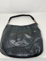 The Sak Black Pebbled Leather Large Size Hobo Handbag Purse Shoulder Bag