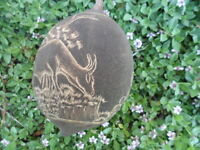 FINELY CARVED ABORIGINAL ART BOAB NUT WITH TREES BUNGLE BUNGLES AND CATTLE
