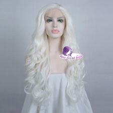 Fashion Lace Front Wig 24'' White Hitzefest Curly Wig Party+ Wig Cap Cosplay
