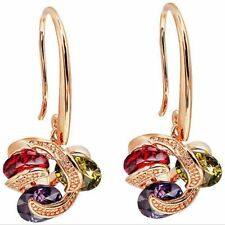 Women's Ruby/Peridot/Amethyst Drop/Dangle Hook Earrings 10KT Yellow Gold Filled