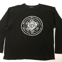 Harley Davidson Mens sz XL Long Sleeve Black Thermal Pullover Sweater Cotton