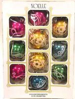 "Vintage Noelle Glitter Stenciled Glass Christmas Ornaments  2-1/4"" ~ 10 IOB"