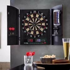 Electronic Dart Board Game Set Cabinet Dartboard Target Darts Wall Mount Cricket