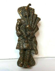 Antique Scottish Bagpipe Player Door Knocker 14 x 5 cm's cast brass dark patina