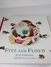 Fitz Floyd plaid Christmas santa canape plate