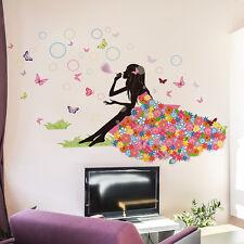 Floral Girl Pomperos Mariposas Adhesivo Pared De Vinilo Decoración Hogar Mural