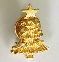 Christmas Tree Small Gold Style Brooch Pin Badge Rare Vintage Gift (D6)
