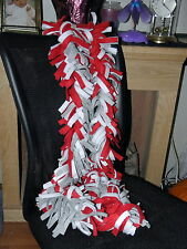 New Handmade fleece boa scarf scarves red white gray school/team colors aprx 69""