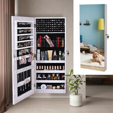 Wood Jewelry Mirror Cabinet Armoire Cosmetic Box Wall Hanging Organizer w/ Key