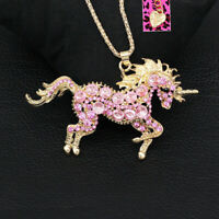 Betsey Johnson Cute Crystal Unicorn Horse Pendant Sweater Chain Necklace Gift