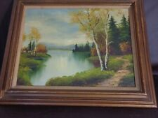 Framed Original Painting River Scene By Cabbetti