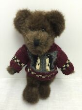 Boyds Bear Plush Collection Dark Brown Red Sweater