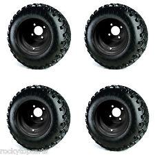 Golf Cart 8x7 Black Steel Wheels on 18x9.50-8 All Terrain Tires - Set of 4