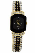 Addic Black Square Dial Analogue Studded Belt Watch For Girls,Women!!