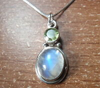 Faceted Peridot and Blue Moonstone 925 Sterling Silver Pendant Corona Sun