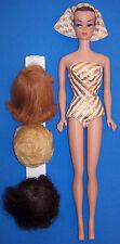 Vintage Fashion Queen Molded Head SL Barbie Doll 1964 OSS Turban #870 3 Wigs