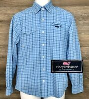 Vineyard Vines Performance Men's Blue Gingham Long Sleeve Harbor Vented Shirt XS