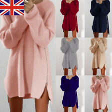 Women Winter Long Sleeve Jumper Tops Knitted Sweater Loose Tunic Mini Dresses