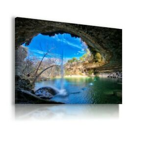 GROTTO FOREST TREES LAKE CANVAS ART PICTURE LN77 UNFRAMED