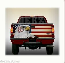 TAILGATE WRAP - AMERICAN FLAG with EAGLE - Rustic Flag Vinyl Graphic Wrap