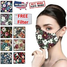 Women's Reusable Floral Flower Cloth Face Mask Cover With PM2.5 Carbon Filter