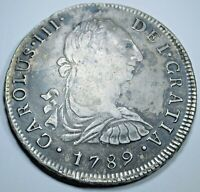 1789 XF Peru Silver 8 Reales Antique 1700s Spanish Colonial Pirate Dollar Coin