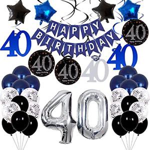40th Birthday Decorations for Men Boys - Blue Birthday Decorations For Him/Her -
