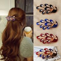 Fashion Vintage Women Crystal Rhinestone Peacock Hair Barrette Clip Hairpin