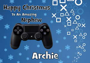 Playstation personalised A5 Christmas card Son brother Grandson Nephew Dad Name