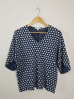 TRENERY Blue Linen Organic Cotton Clover Blouse Oversized Top Women's Size XS